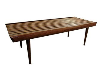 Mid-Century Modern Coffee Table Walnut Slat Bench Coffee Table Danish Modern Table #2