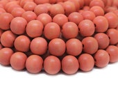 12mm Salmon Round Wood Beads Dyed and Waxed 15 inch strand