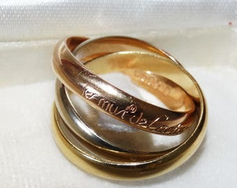 Cartier Trinity 18K/750 Tri-color Rolling Ring Size 52/US6.5