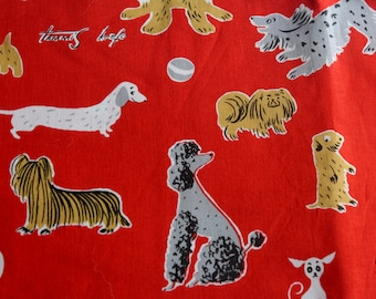 Closing Sale 11X44 Tammis Keefe Red Dog Michael Miller Red Fabric cute! vhtf Rare Oop