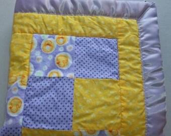 Rubber Ducky, Yellow Baby Blanket, Baby Girl Quilt, Stroller Blanket, Baby Girl Blanket, Purple Duck, Baby Mat, Duck Baby Shower, Kid Quilt