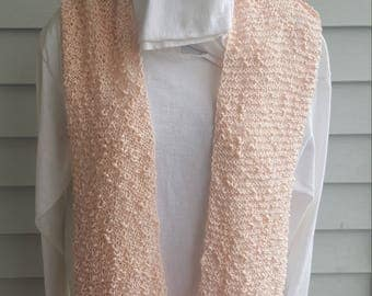 cotton light weight flowing scarf, lacey scarf, woman's scarf (light peach)