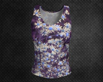 Floral Tank Top Fitted Purple Tank Daisy Print Tank Top Daisy Art Tank Top Flower Print Tank Womens Tank Top Ladies Tank Top Unique Stylish