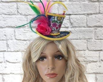 Sugar Skull Fascinator Mini Top Hat, Sugar skull Fascinator, Halloween Mini Top Hat, Day of the Dead Mini Top Hat