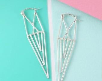 ON SALE NOW Silver Drop Earrings, Geometric Earrings, Long Earrings, 925 Silver Earrings, Statement Earrings, Edgy Earrings, Aztec Earrings