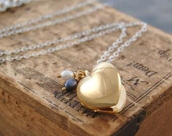 ON SALE NOW Heart Locket, Gold Locket, Locket Necklace, Heart Pendant, Gold Pendant, Sterling Silver, Pearl Necklace, Pearl Locket, Gold Hea