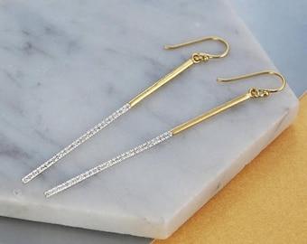ON SALE NOW Long Earrings, Gemstone Drop Earrings, Long Gold Drop Earrings, Thin Earring, White Topaz Earrings, Statement Earrings, Modern G