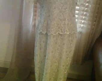Vinteage Ecru Beaded Evening Gown-Maxi Dress Size 16 by Stenay-Perfect!