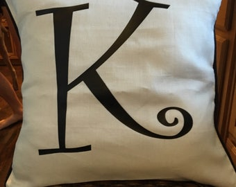 Initial Throw Pillow Cover, 12x12, 12x16, 16x16, or 18x18, Home Decor Pillow Case