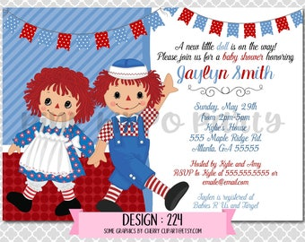 Raggedy Ann and Andy Doll Baby:Design #224-Baby Shower Invitation, Free Thank You Card with Purchase, Digital 4x6 or 4x7 file emailed