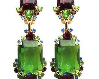 Crystal emerald Earrings, Colorful crystal earrings, Swarovski crystal earrings