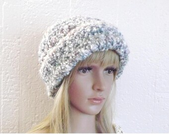 Chunky Thick Beanie Hat, Womens Earwarmer Beanie, Oversized Beanie, Fuzzy Hat, Slouchy Hat, Winter Hat by Vikni Designs