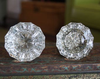 Vintage Glass Door Knobs, 12 Point Glass Door Knobs, Crystal Door Knobs-2 Knobs-One Set