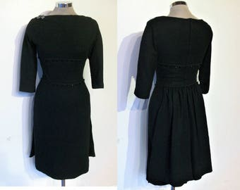 Knockout 1950s winter wiggle dress w/back bustle panels waist 24""
