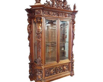 """19th century """"Highly carved"""" Italian Renaissance Bookcase"""