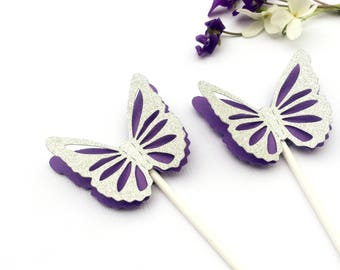 Butterfly Cupcake Toppers - Purple and Silver glitter. Baby shower, first birthday party decor, fairy party, bridal shower, tea party.