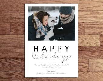 DIGITAL FILE - Christmas Photo Card - Happy Holidays - 5x7 / 4x6