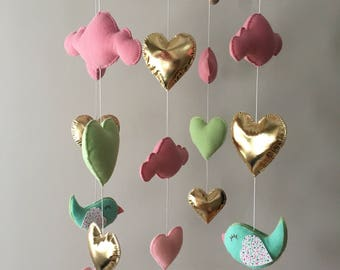 FREE SHIPPING Canada/US - Baby mobile - baby girl mobile - Cot mobile - Heart mobile - Cloud mobile - Bird mobile - Clouds, hearts and birds