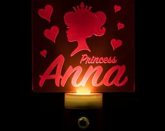 Princess Night Light Personalized - Customized Princess Pink LED Nightlight - Fairytale Theme Princess - Crown- Kids Night Light Custom Name