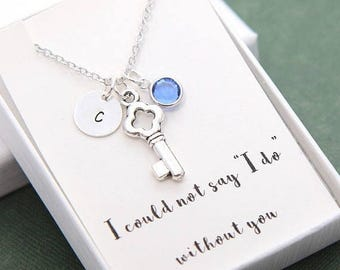 SALE Bridesmaid Necklace, Bridesmaid gift, Key Necklace, Personalized Necklace, Initial Necklace, Personalized Birthday Necklace, Birthstone