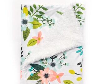 Floral Baby Blanket Baby Blanket Minky Baby Blanket Baby Shower Gift Security Blanket Spring Blanket Baby Gift Minky Blanket Floral Nursery