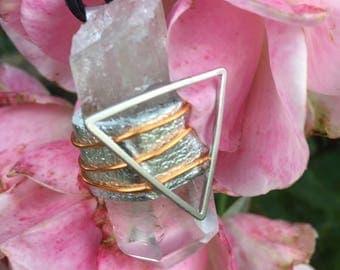 Metallic Leather Wrapped Quartz Necklace