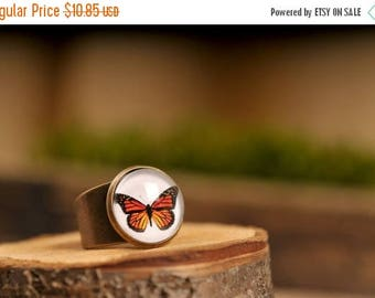 20% OFF Monarch butterfly ring, adjustable ring, statement ring, butterfly ring, antique brass ring, glass dome ring, orange butterfly ring