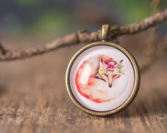 Boho necklace, gift for women, birthday gift for her, fox necklace, nature necklace, boho jewelry, fox jewelry, forest necklace, orange