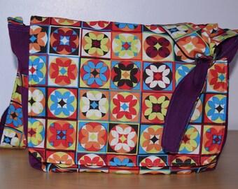 Purple kaleidoscope messenger style bag for college, school, laptop or babywearing.
