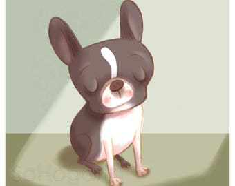 "Boston Terrier Sunbeam. 8x11"" Matte Paper Art Print"