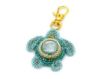 Turtle keychain, bead embroidery