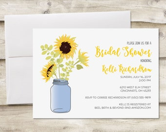 Sunflower Bridal Shower Invitation, Bridal Shower Invitation, Sunflower Mason Jar Shower Invitation, Rustic Bridal Shower Invitation