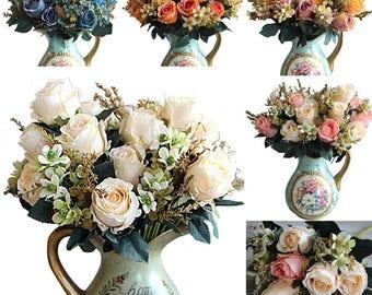 5 colors Artificial Rose flowers decoration  fleur artificielle roses artificial flowers Best Wedding decoration Flower