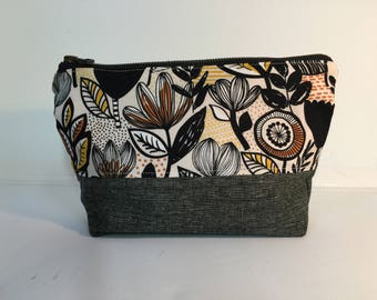 flowers and leaves print Zipper pouch- for toiletries, etc.