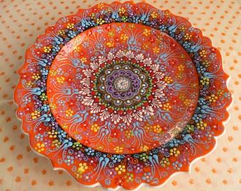 Turkish Ceramic Plate, 12 inch  platter, serving platter, melon orange platter, raised design, wall art, wedding gift