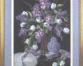 Lilacs and lace crewel embroidery kit