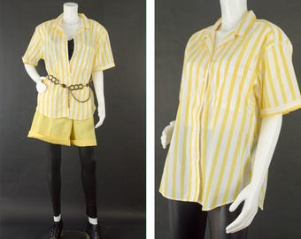 Vintage Short Sleeve Shirt, Yellow Pinstripe Pajama Style Top, 80s Style Shirt, Casual Button Up Shirt, Oversized Shirt, Women's Size Large,