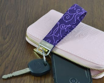 Purple Swirl Key Fob // Key Fob Wristlet // Gifts for Her // Bachelorette Gift // Gifts for Him