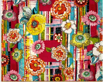 End of Bolt - 23 inches x 44 inches Cha Cha Main Floral Petals from P & B Textiles