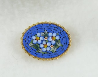 Gold Tone Oval Micro Mosaic Blue Floral Brooch Pin- Made in Italy