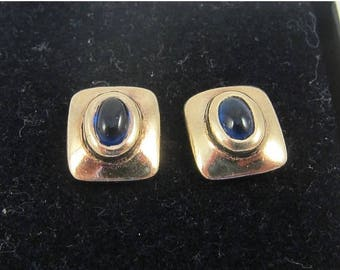 Spring Sale Dainty Squared Gold over Sterling Silver Stud Earrings w. Blue Glass