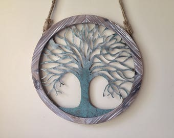 Tree of life wall hanging, large wall decor, 1 1/2 foot, 18 inches wood and metal,