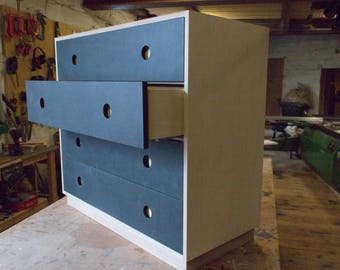 """Wide """"Slate"""" Chest of Drawers - Birch Plywood and Valchromat"""