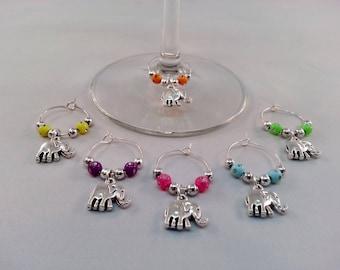 Set of 6 - Elephant Wine Charms