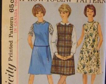 "ON SALE 35% OFF 1963 Misses' Jumper Dress Blouse Vintage Simplicity Sewing Pattern 5384 Size 14 Bust 34"""