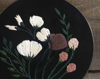 Hand Embroidered Large Bouquet Wall Art // modern embroidery // flowers // florals // blush pink // contemporary // bloom // gallery wall