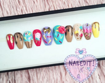 NAILED IT! Hand Painted False Nails - Cute Desserts