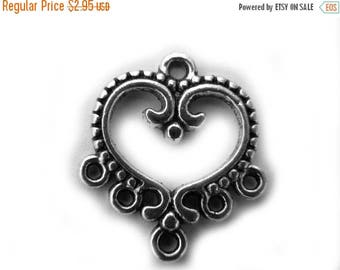HALF PRICE 2 Silver Heart Chandelier Earring Connectors - 1 to 5