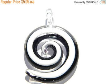 HALF PRICE Spiral Glass Black and White Focal Bead - Statement Bead
