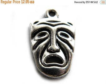 HALF PRICE 6 Silver Classical Drama Charms - Comedy and Tragedy Masks